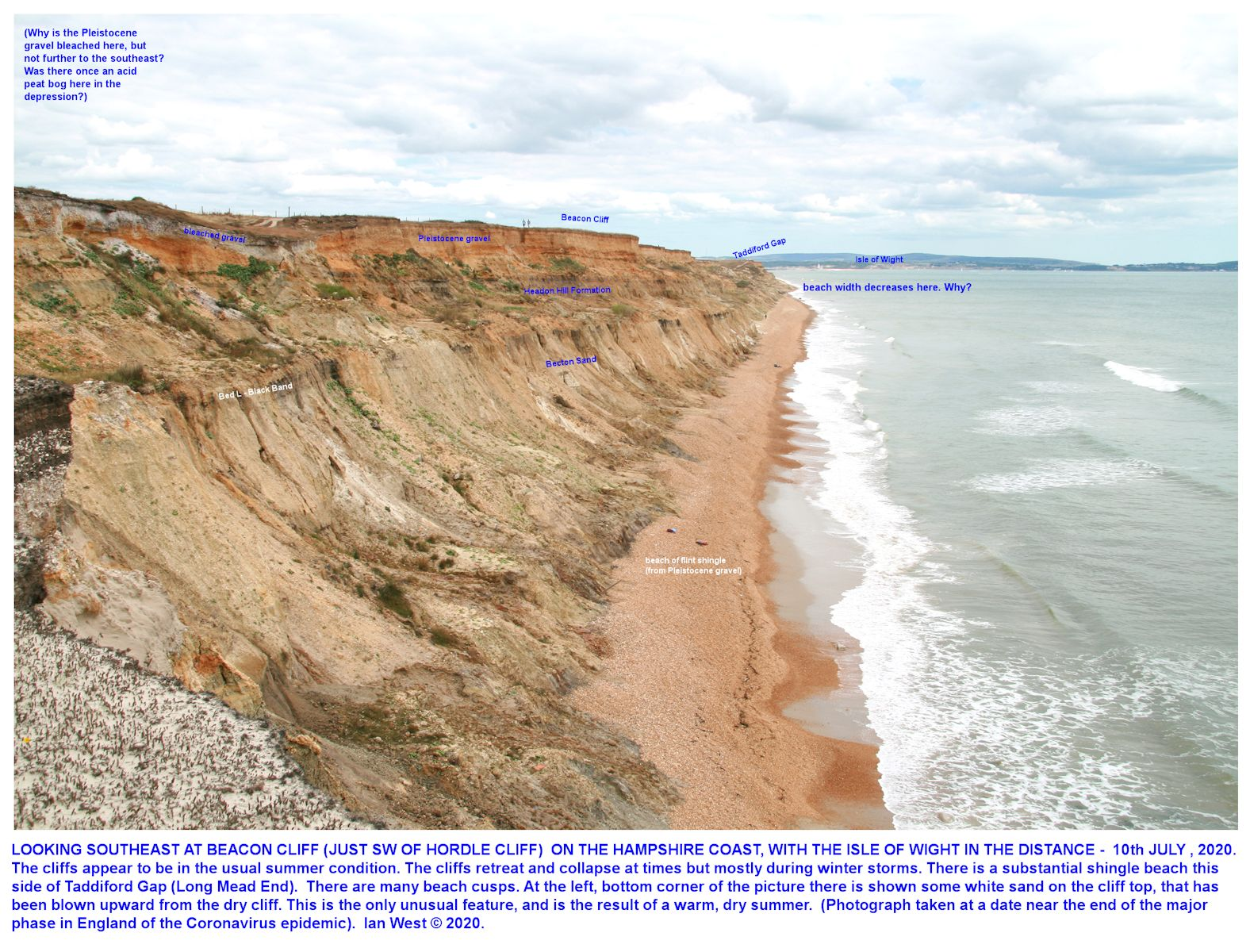 A general view of Beacon Cliff, looking southeast in the direction of Hordle Cliff, 10th July 2020, when weather conditions were warm and still, and there was no active erosion