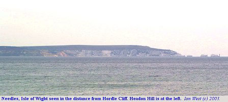 The Needles and Headon Hill, Isle of Wight, seen in the distance from Hordle Cliff, Hampshire