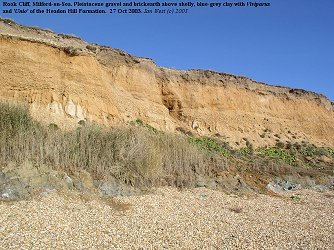 Rook Cliff, Milford-on-Sea, gravel, brickearth and Headon clay in the cliff