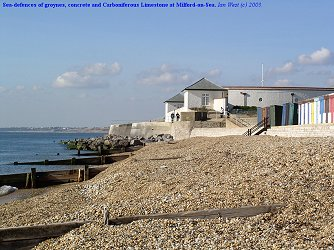 Sea defences at Milford-on-Sea seen in October 2003