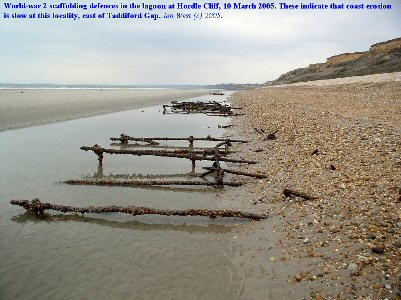 Remains of iron scaffolding, military defences of the Second World War, east of Taddiford Gap,  Hordle Cliff, Hampshire