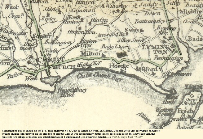 An 1787 map of Christchurch Bay, Hampshire, showing the old village of Hordle, destroyed by the sea in 1820s