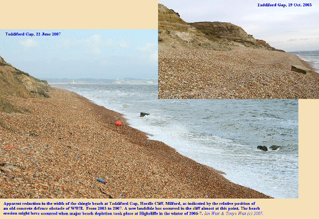 Apparent narrowing of the shingle beach at Taddiford Gap, Hordle Cliff, Hampshire, from 2003-2007