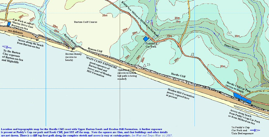 Topographic and location map for the geology of Hordle Cliff, Hampshire