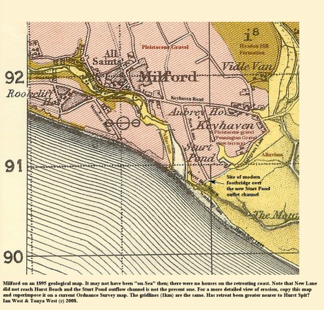 Milford, Hampshire, as shown on a geological map of 1895