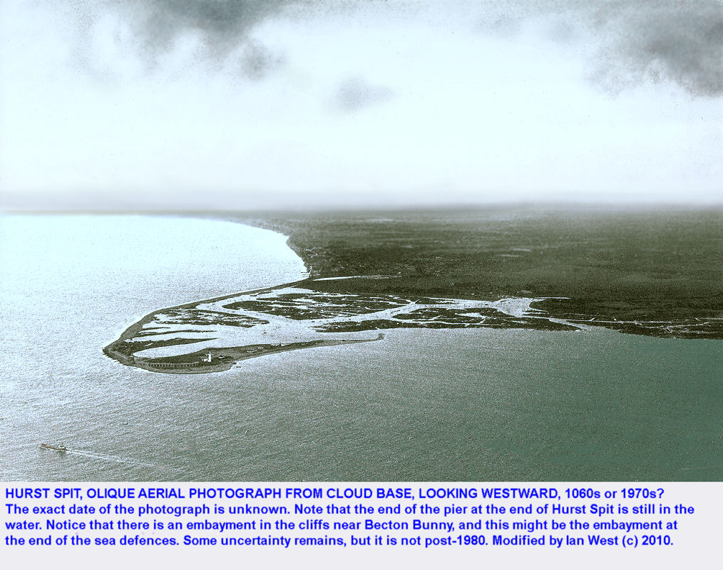 An old oblique aerial view of Hurst Spit, Hampshire, from cloud base, 1960s or 70s
