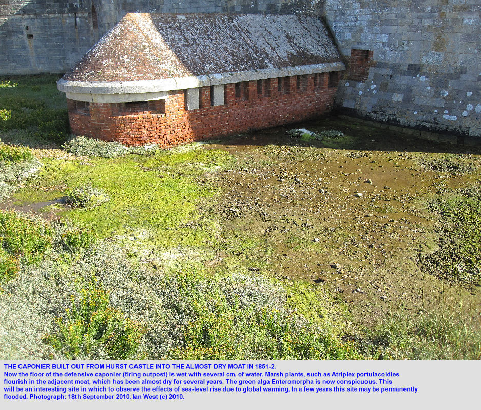The moat will probably slowly flood, with rising sea-level, at  Hurst Castle, Hurst Spit, Hampshire, photo 2010