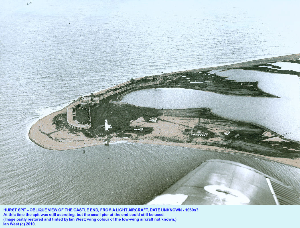 Old oblique aerial photograph of Hurst Spit, Hampshire, from a low-wing light aircraft