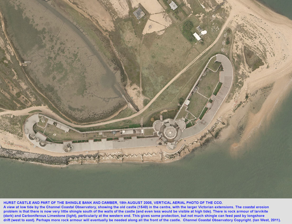 Aerial view by the Channel Coastal Observatory of Hurst Castle, Hurst Spit, Hampshire, in August 2005