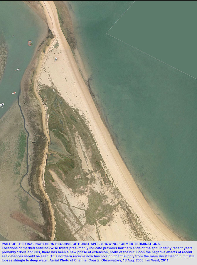 Part of the final recurve of Hurst Spit, Hampshire, in 2005, and showing former terminations, CCO