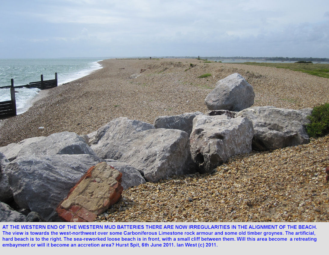 Irregularities in the shingle spit at the western end of the western mud batteries, Hurst Spit, Hampshire, July 2011