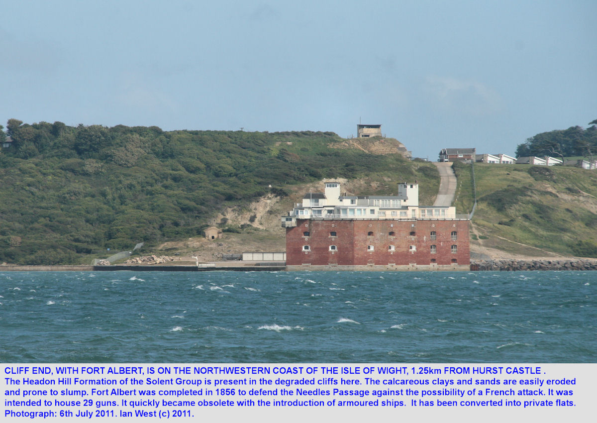 Cliff End and Fort Albert, Isle of Wight, seen across the Needles Passage from Hurst Castle, Hurst Spit, Hampshire, 2011