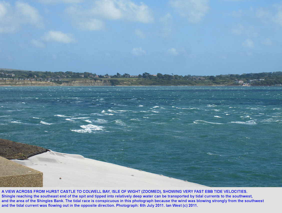 High velocity current flow of the ebb tide between Hurst Castle, Hampshire and Colwell Bay, Isle of Wight, July 2011