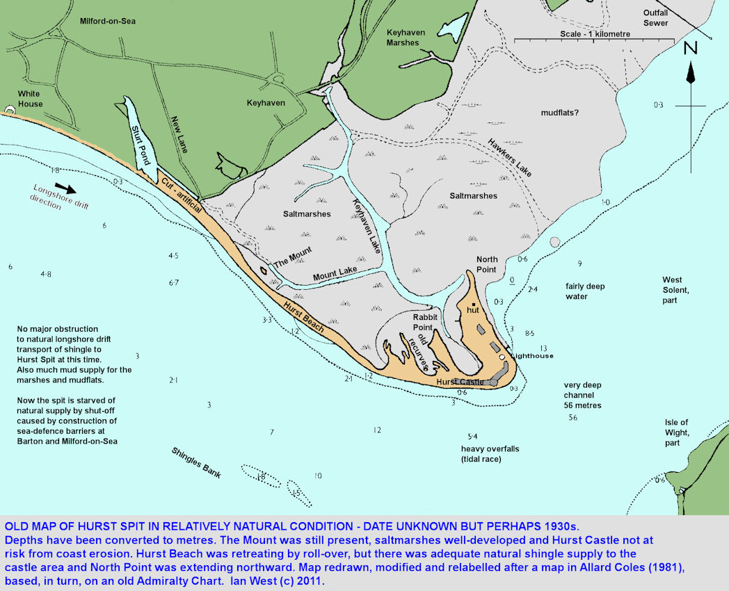 A map of Hurst Spit, Hampshire, before sea-defence works prevented natural longshore drift supply of beach shingle to the promontory
