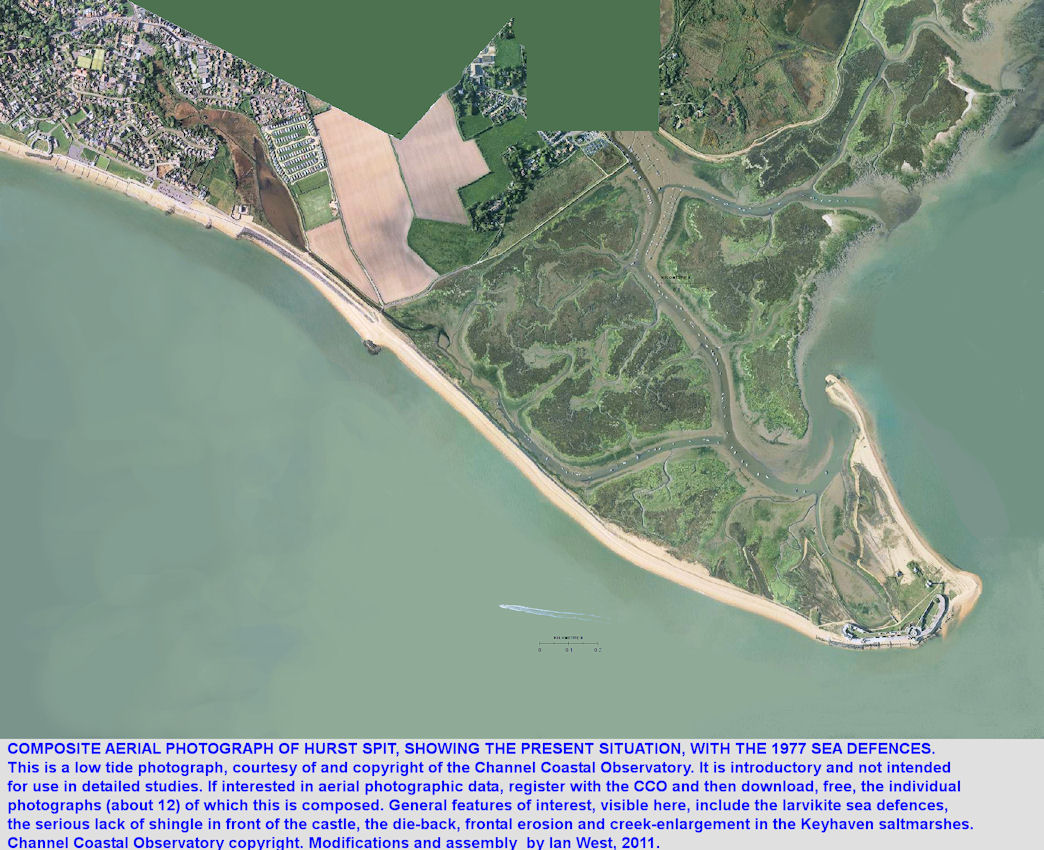 Aerial photograph of  Hurst Spit, Hampshire, general overview by the Channel Coastal Observatory, low tide, modified 2011