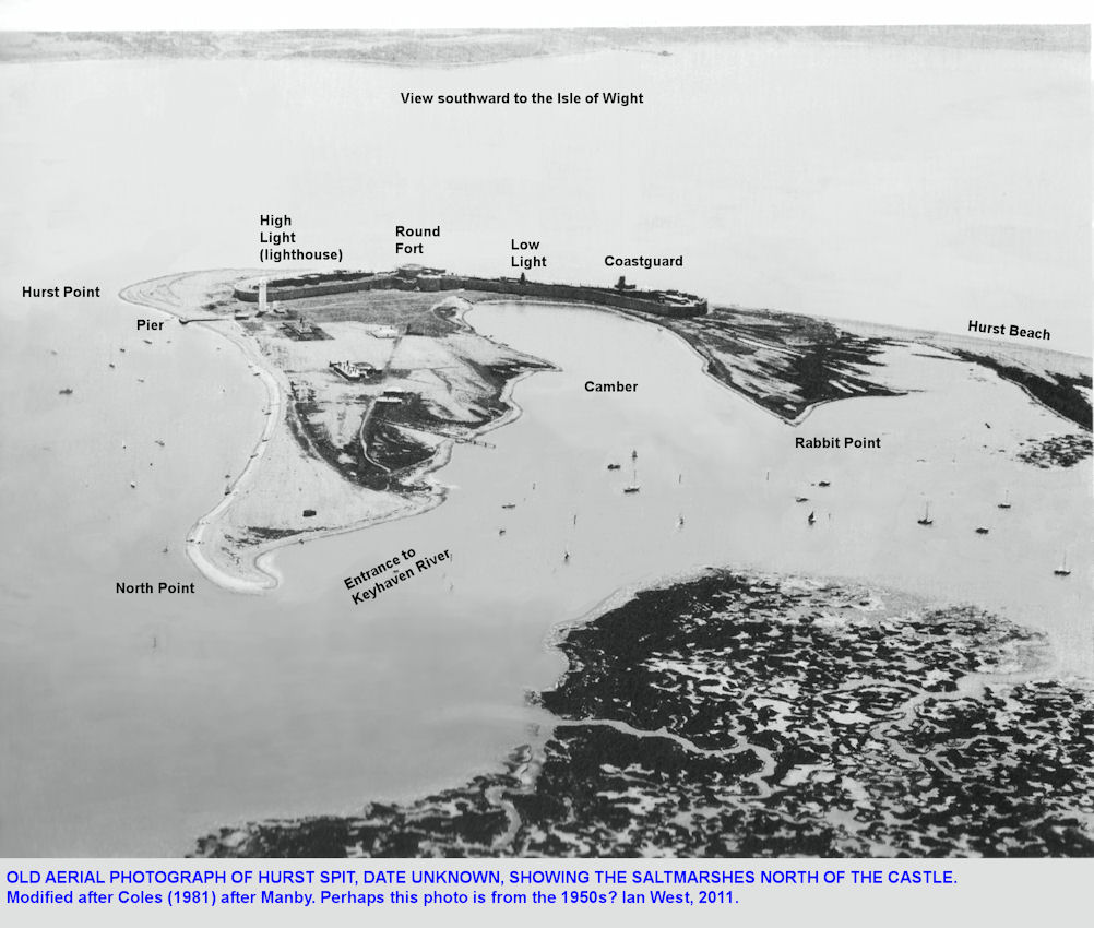 An old oblique aerial photograph of Hurst Spit and Hurst Castle, Hampshire, looking southward