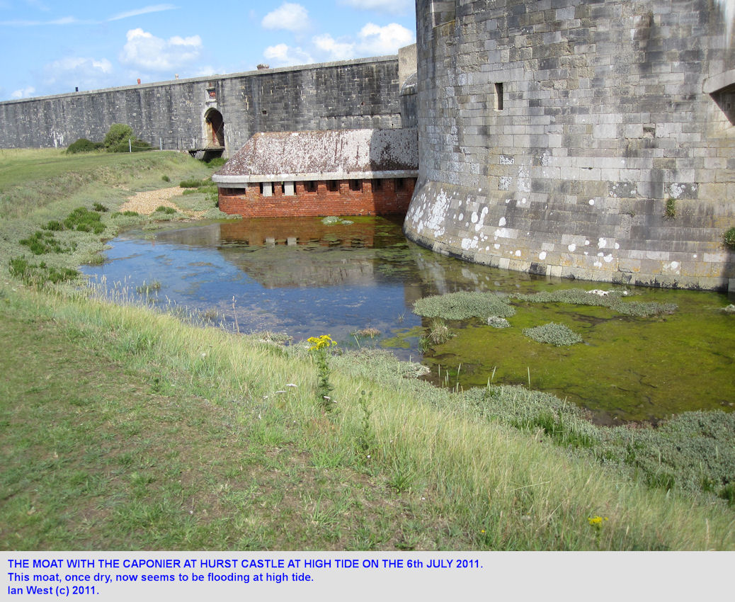 A high tide on 6th August 2011 causes flooding in the moat at Hurst Castle, Hurst Spit, Hampshire