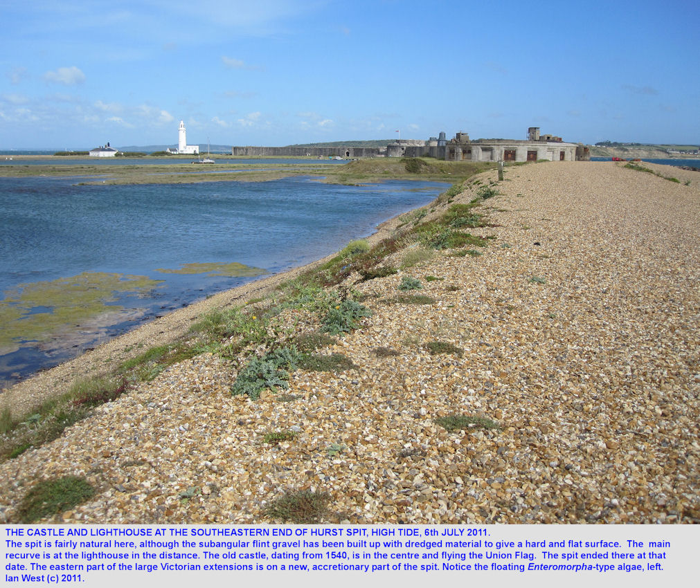 The southeastern part of  Hurst Spit, Hampshire, with the old castle, the Victorian extensions and the lighthouse, July, 2011