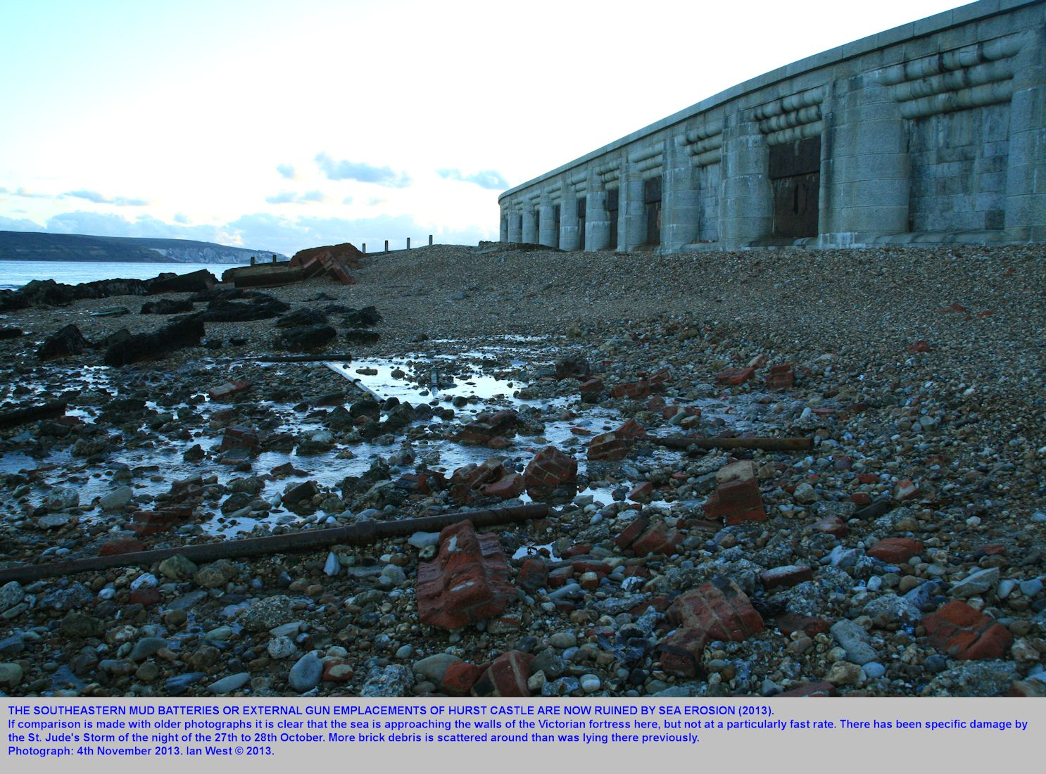 Continued devastation of the southeastern Earth Batteries, old gun emplacements, at the southeastern end of Hurst Castle and Hurst Spit, Hampshire, November 2013