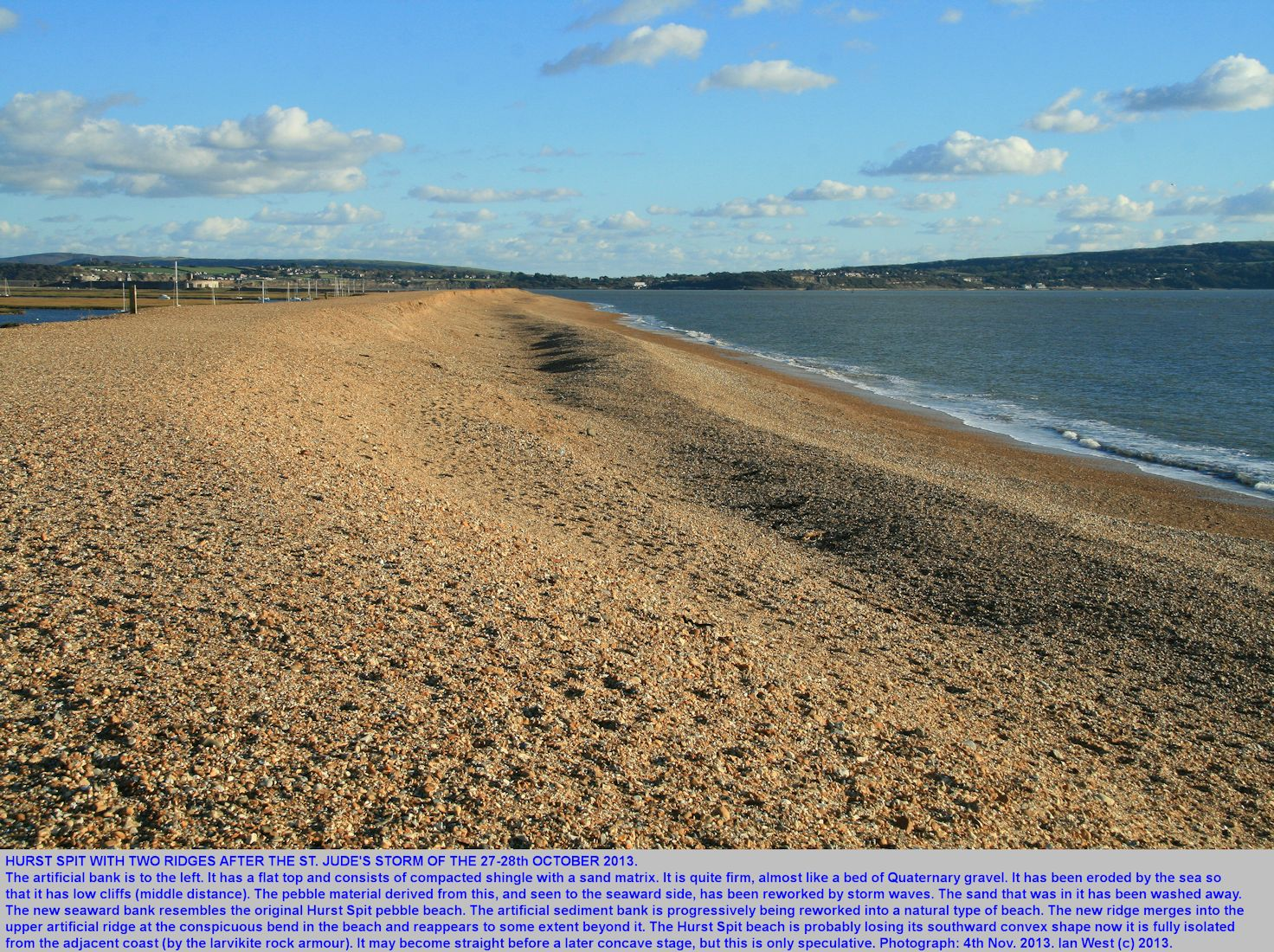Development of a double shingle bank at Hurst Spit, Hampshire, after the St. Jude's Storm of late October 2013