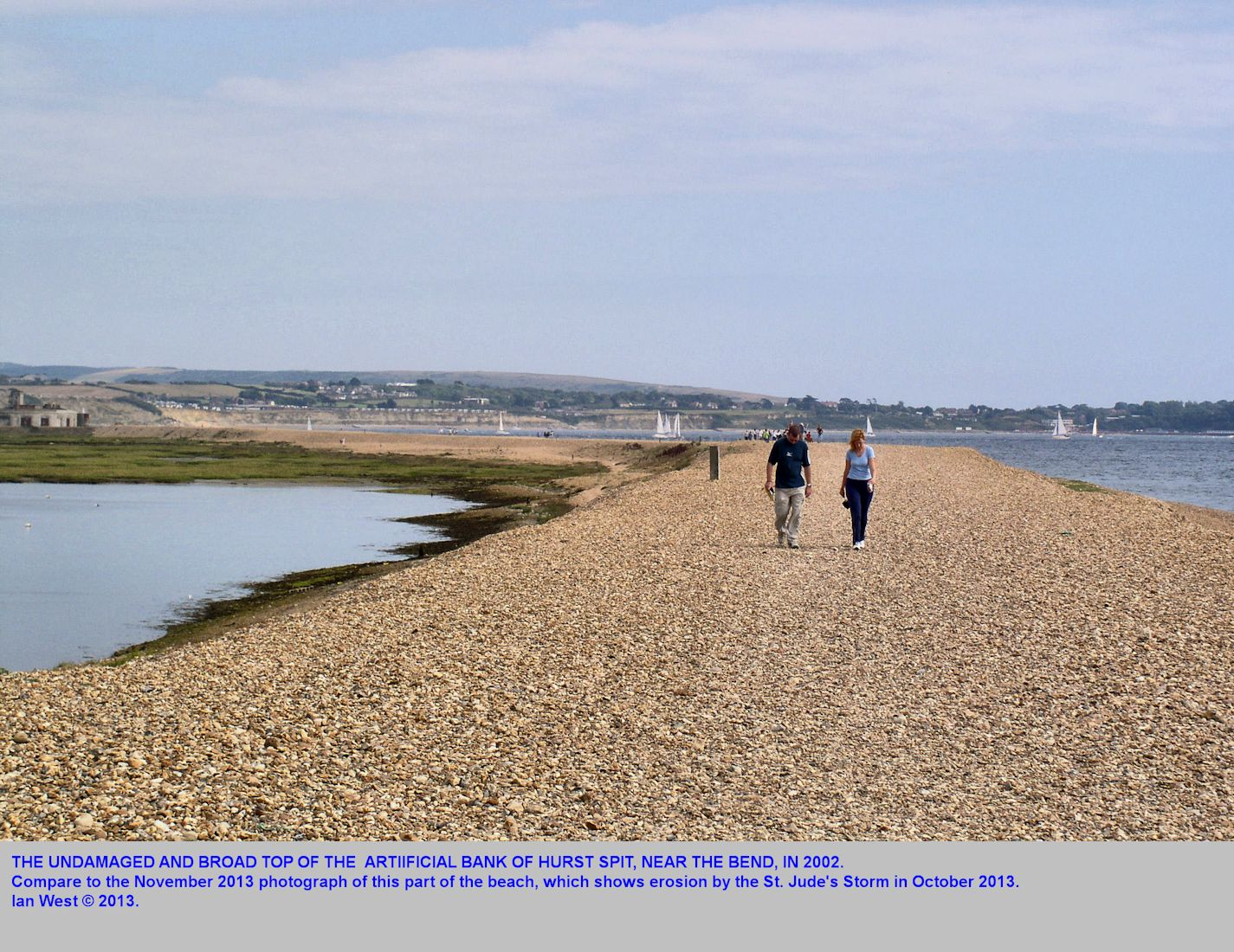 The bend in Hurst Spit, in 2002, before the top bank was reduced in width by storm erosion