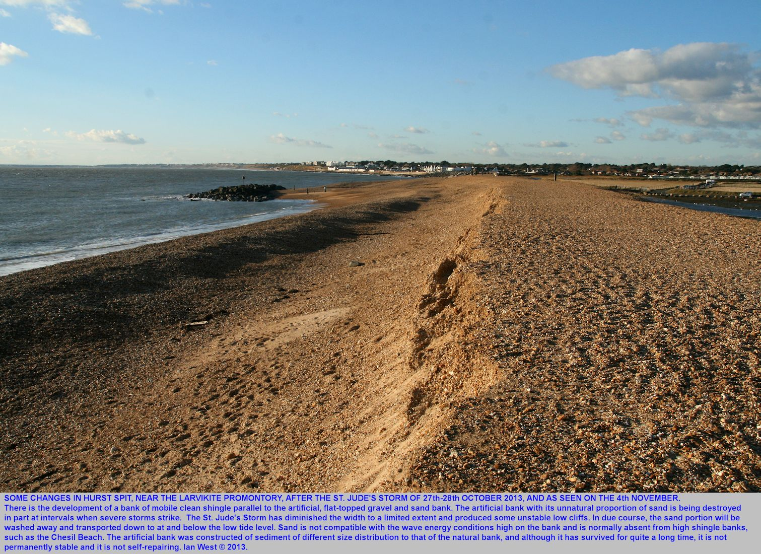 The western end of Hurst Spit, Hampshire, after the St. Jude's Storm, looking westward towards the larvikite promontory, 4th November 2013
