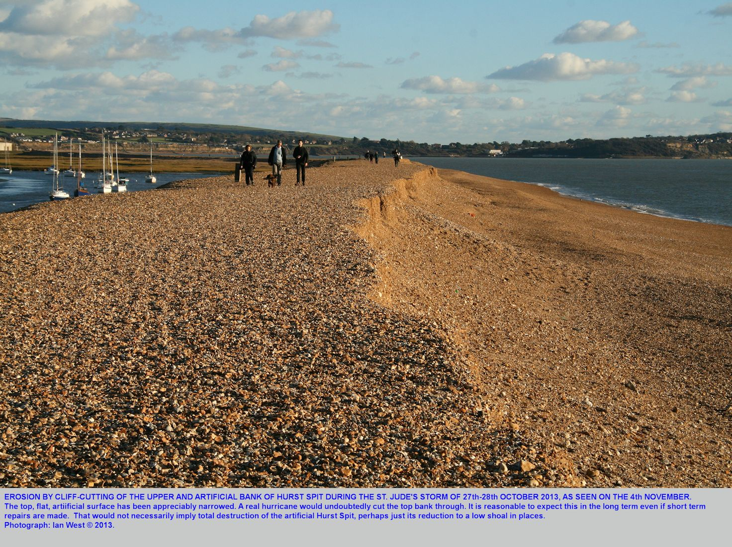 Erosion of the upper artificial bank of  Hurst Spit, Hampshire, by development and landward movement of a low cliff on the seaward side, after the St. Jude's Storm of late October 2013