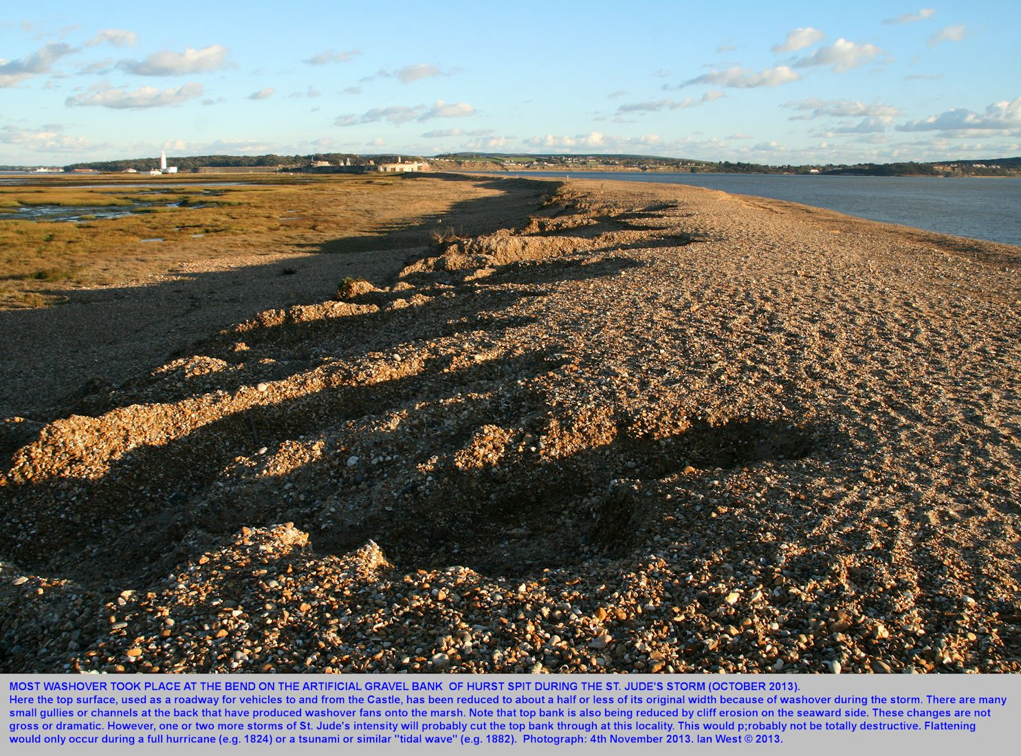 Washover effects at the bend in Hurst Spit, Hampshire, that were the result of the St. Jude's Storm, October 2013