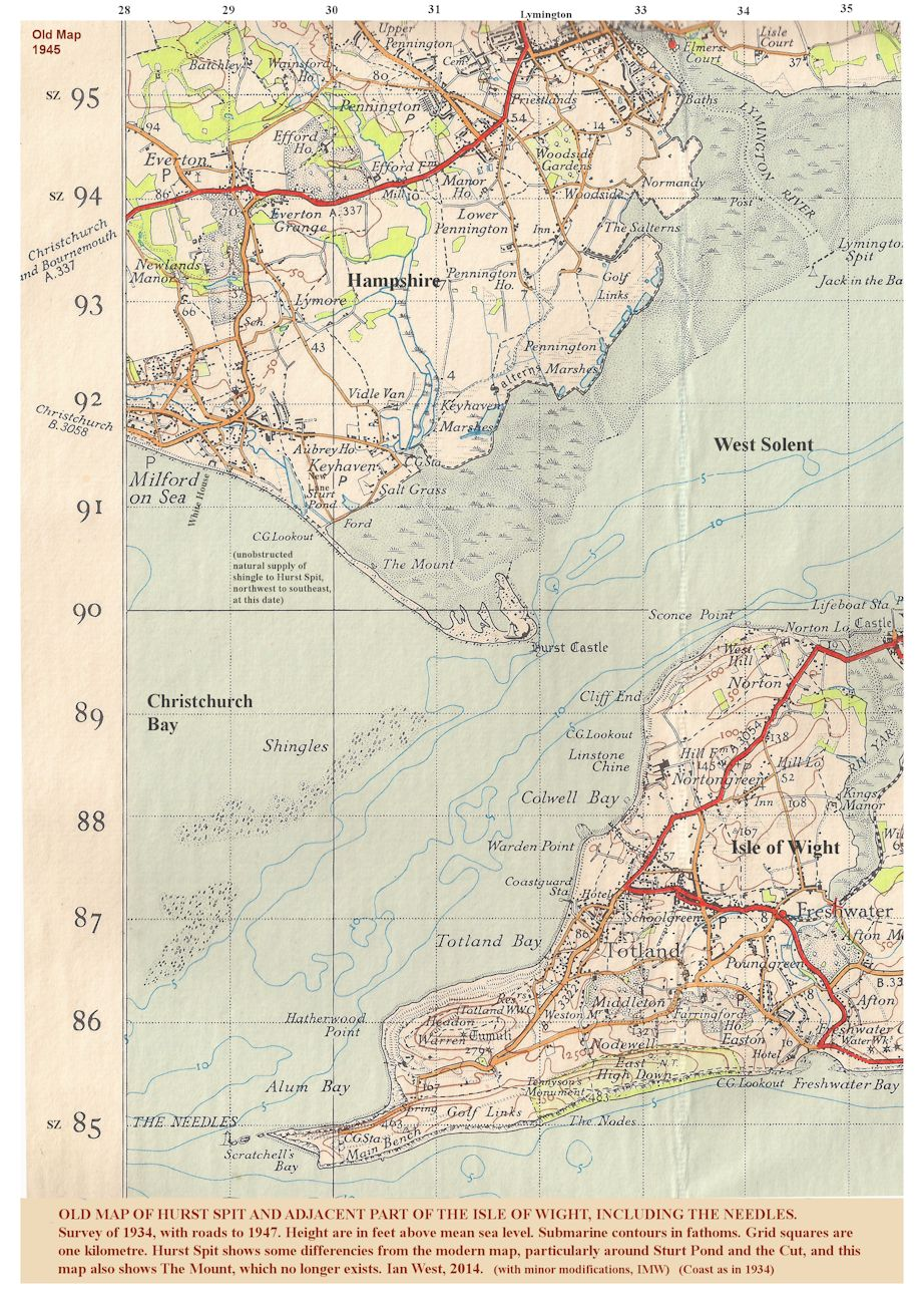 Part of an old topographic map, from 1935, showing  Hurst Spit, Hampshire, and the western Isle of Wight, near the Needles, with minor modifications and additions