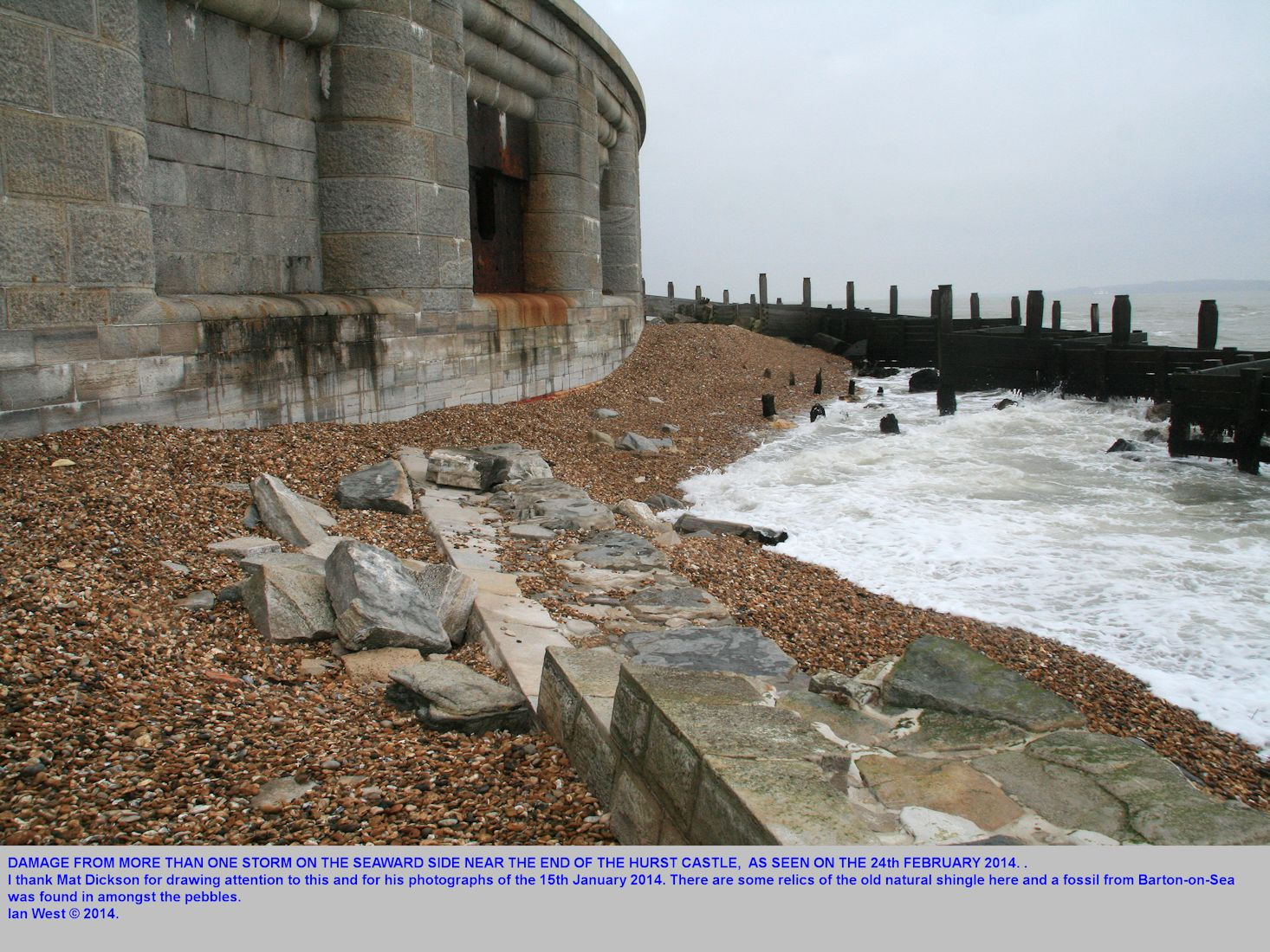 Damage and potential undercutting of the Castle wall, Hurst Spit, Hampshire, 24th February 2014