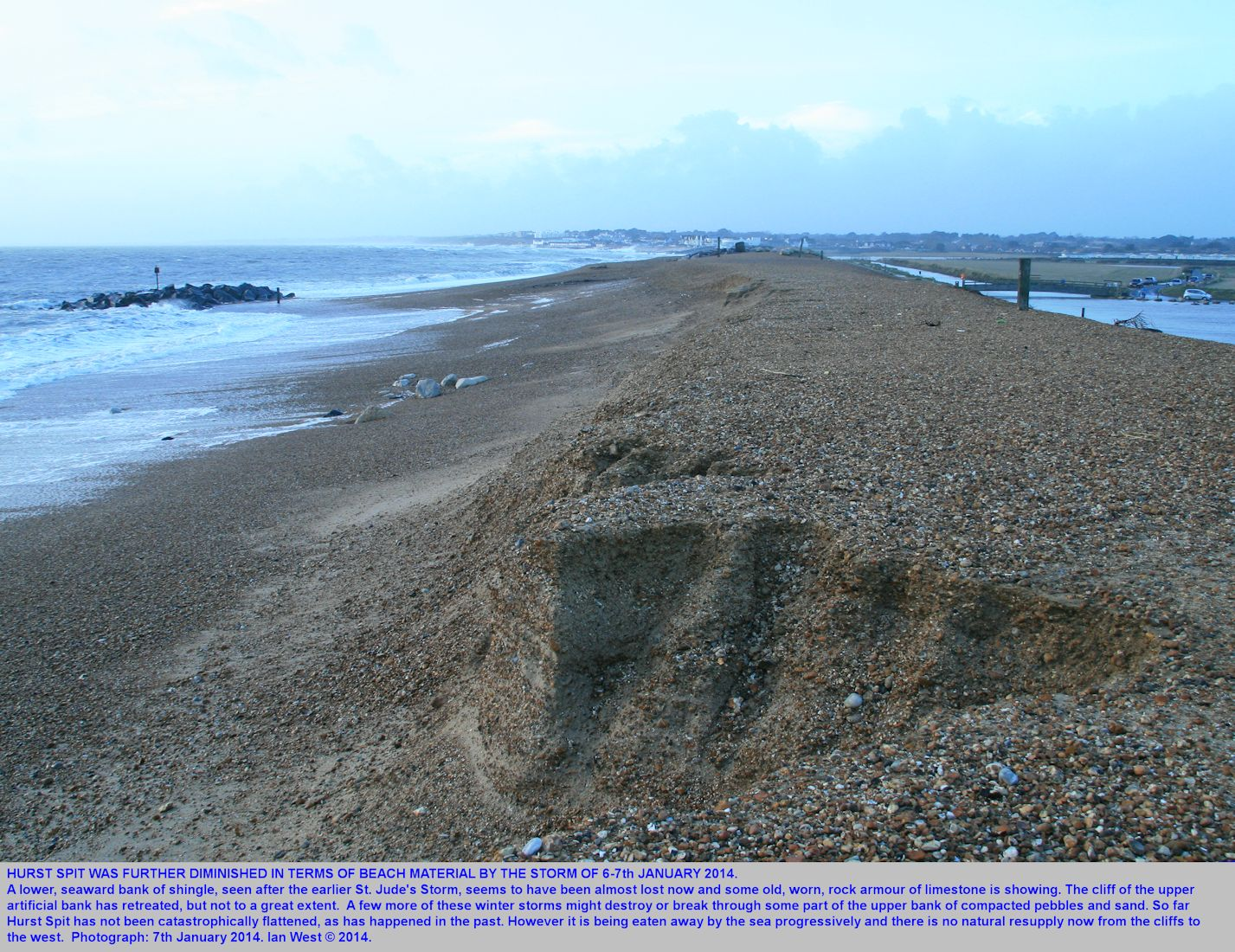 Hurst Spit, Hampshire, further diminished by loss of beach material after the storm of the 6 to the 7th January, 2014