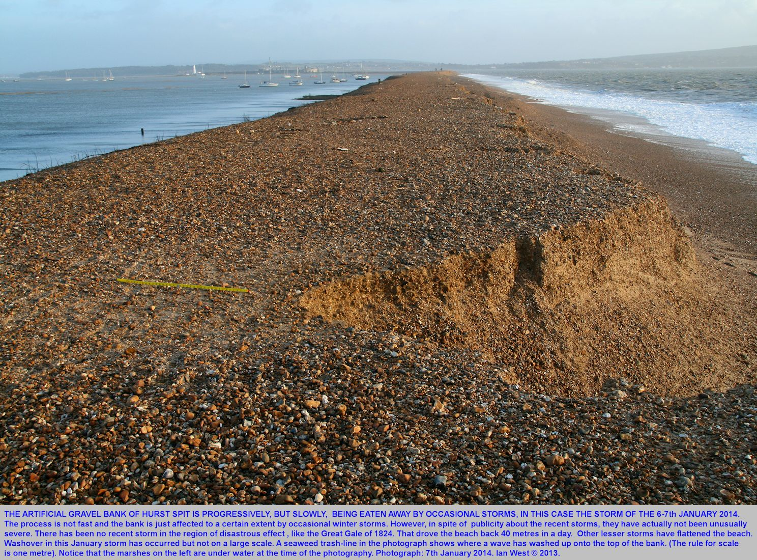 Erosion on the seaward side of Hurst Spit, Hampshire, seen after the storm of 6-7 January, 2014
