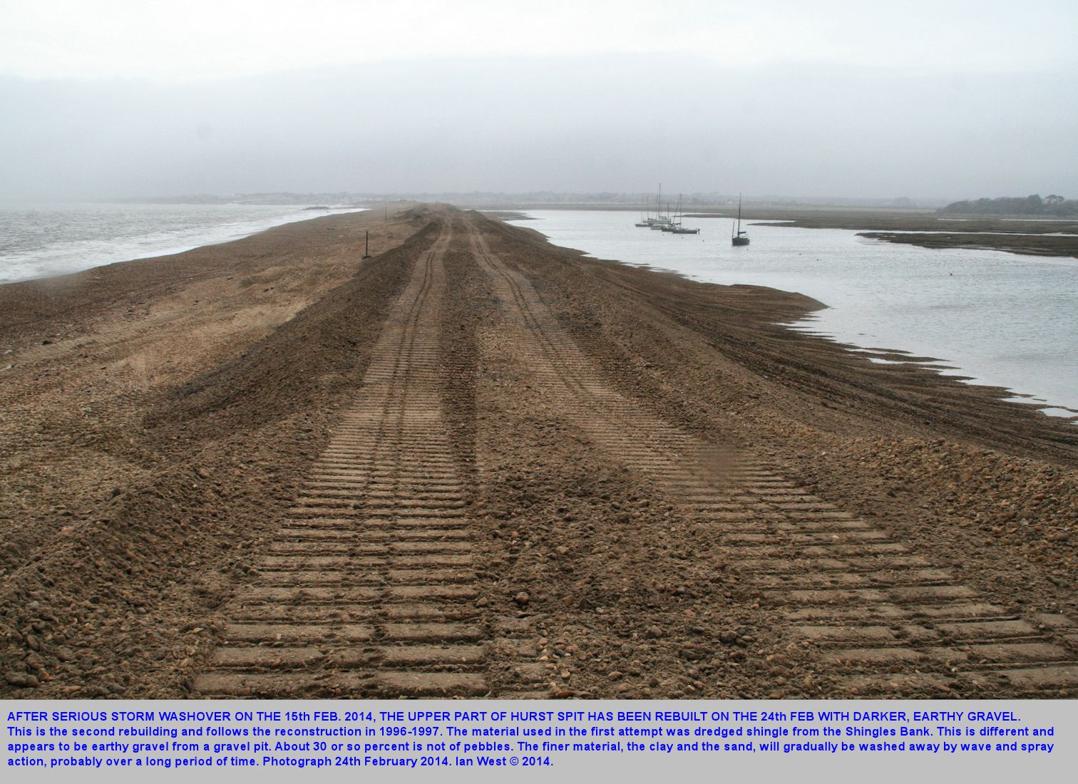 The rebuilding of the  Hurst Spit causeway, with dumped, rather earthy gravel after the storm of 14th-15th February 2014