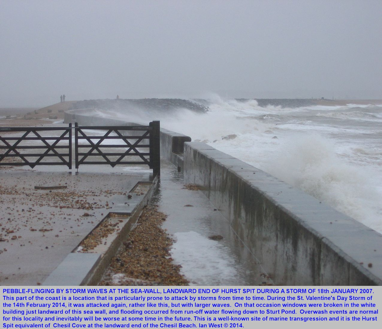 Storm action, overwash and pebble-throwing at the landward end of Hurst Spit, Milford-on-Sea, Hampshire, old photo January 2007, for comparison
