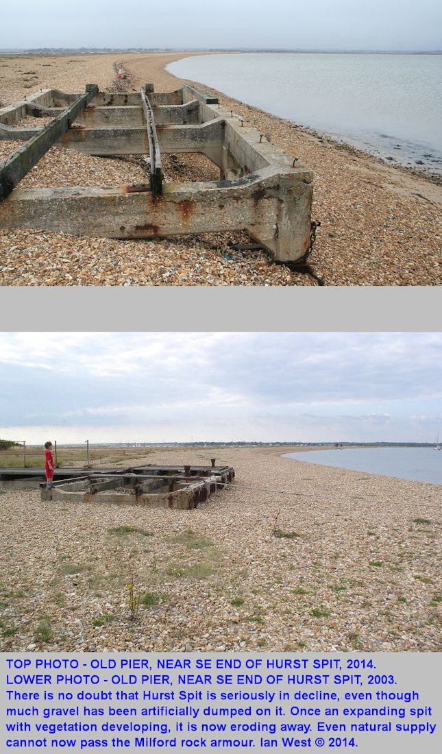 Comparison of the southeastern end of  Hurst Spit, Hampshire, as shown by the old pier, 2003-2014, with erosion indicated