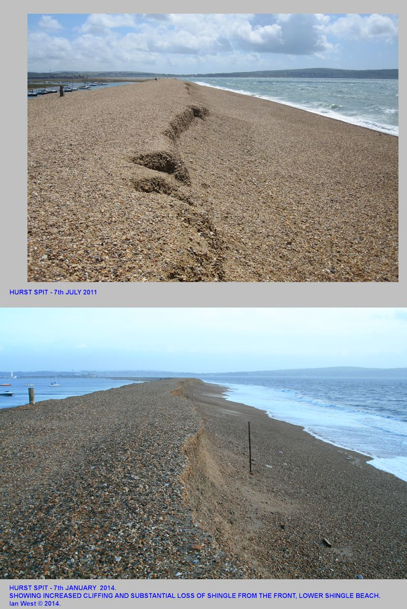 Hurst Spit, Hampshire, a comparison between 2011 and 2014, looking towards the bend, and showing increased cliffing and substantial loss of the front beach material