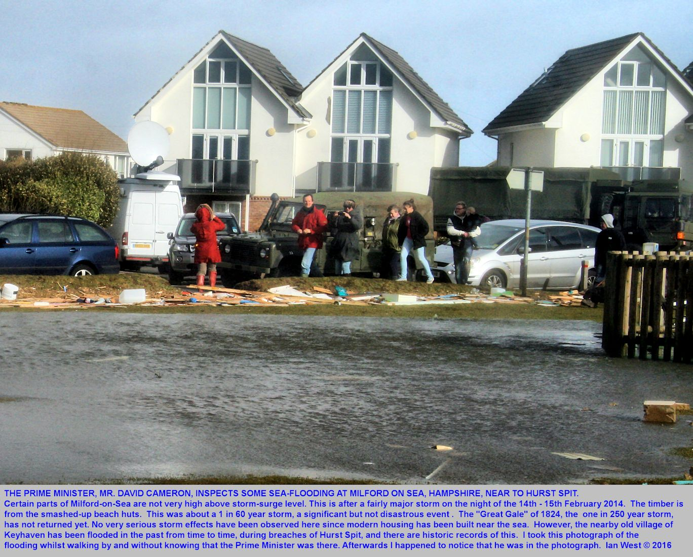 The Prime Minister, David Cameron, visits Milford-on-Sea, near Hurst Spit, Hampshire, to see the effects of  some sea flooding as result of a bad storm, overnight, 14th-15th February 2014