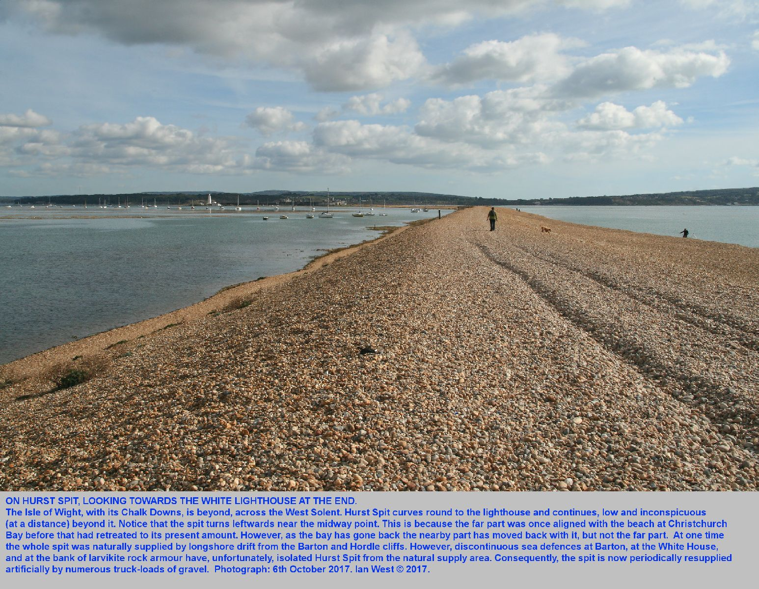 A general view of Hurst Spit, Hampshire, when walking on the shingle near the landward end, 6th October 2017