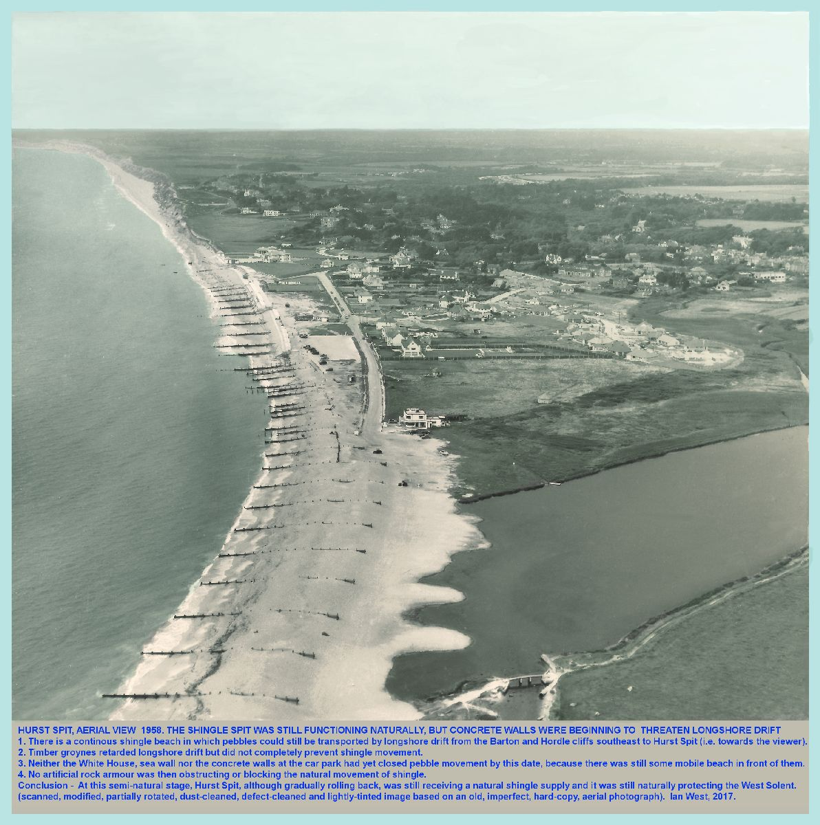 The Milford end of Hurst Spit, Hampshire, seen in aerial view in 1958, shown here in as a version that has been lightly tinted by Ian West, 11 November, 2017