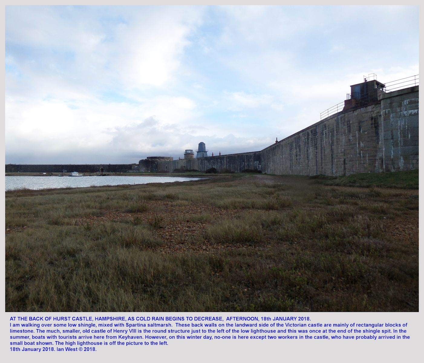 The north side of Hurst Castle Spit, Hampshire, as the rain stops, 18th January, 2018