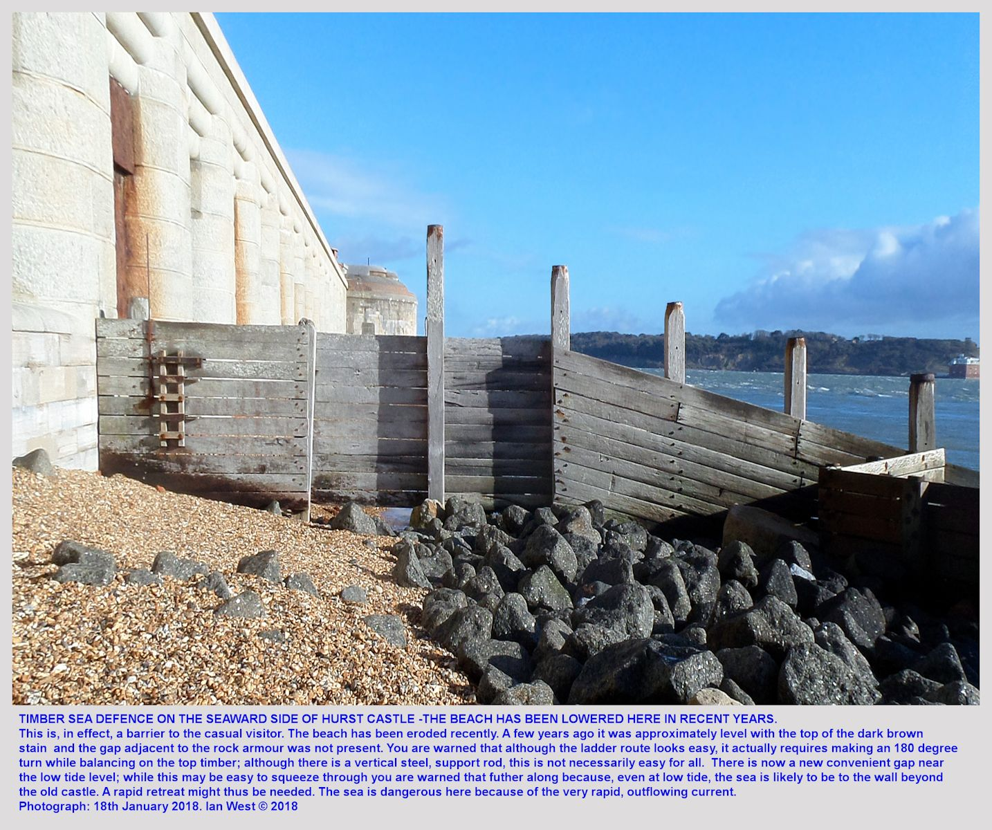 A timber groyne barrier on the seaward side of Hurst Castle that may, perhaps, not always be crossed for safety reasons