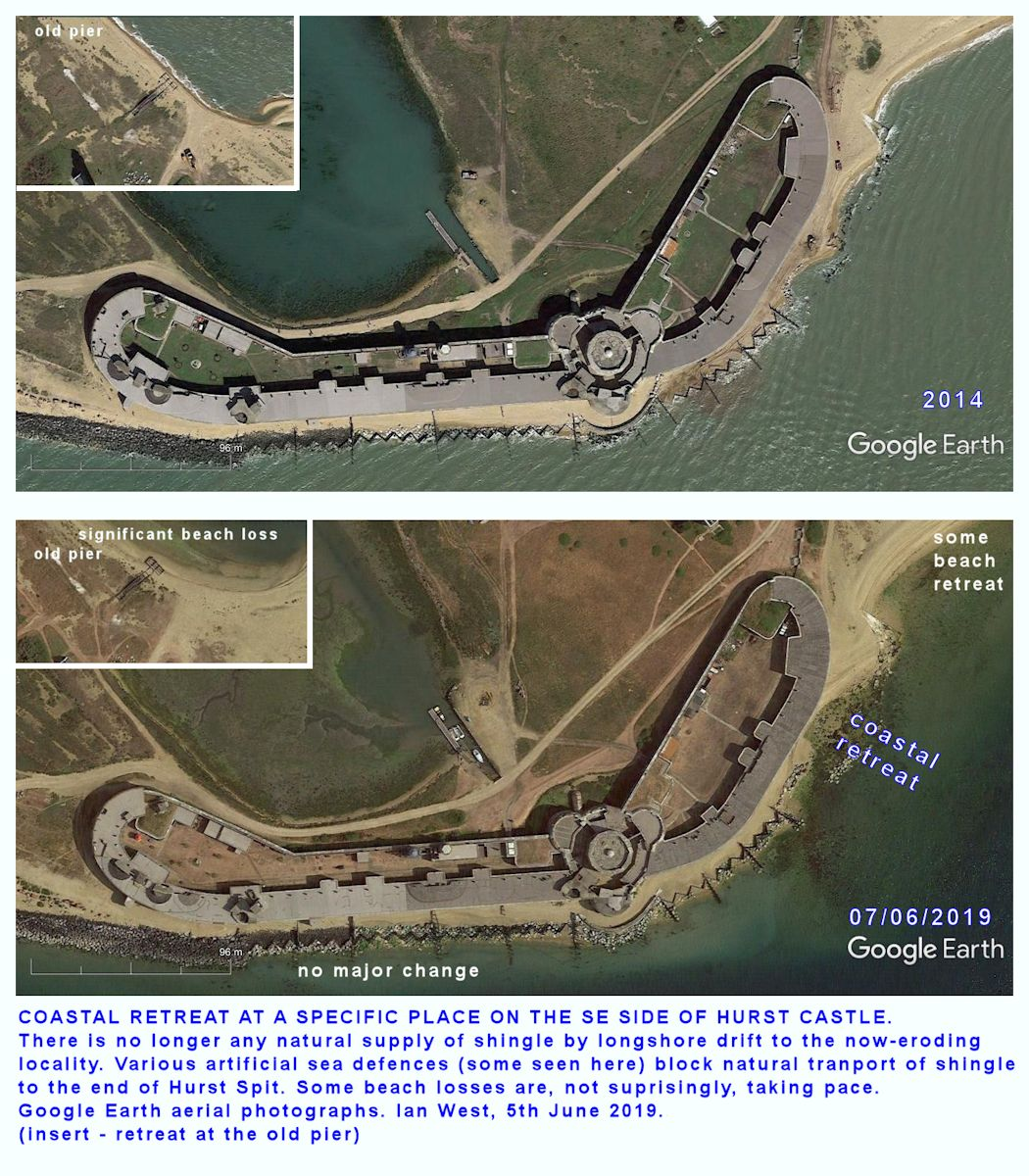 Comparision images re coastal changes near the eastern end of Hurst Castle and Hurst Spit, based on Google Earth
