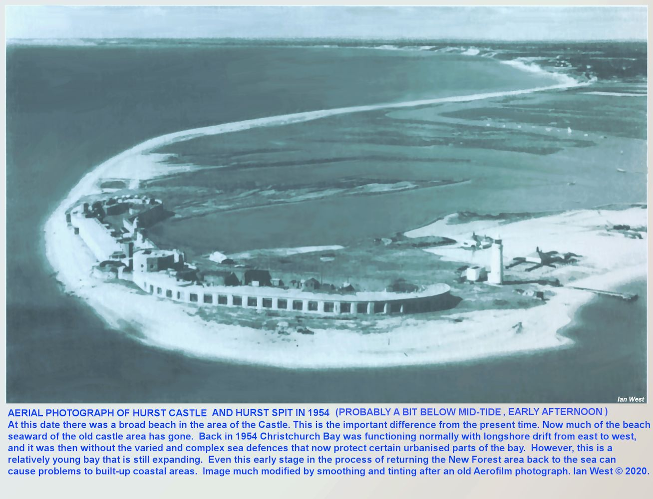 An Old aerial photograph of Hurst Spit and Hurst Cstle, Hampshire, in 1954, modified