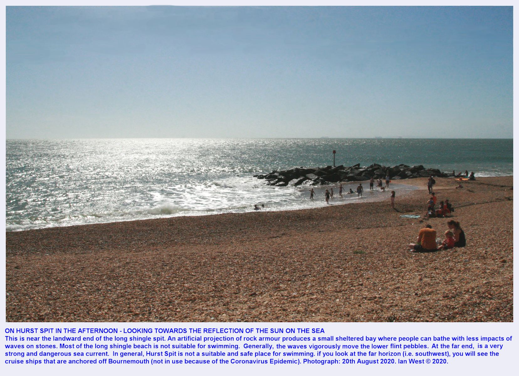 Hurst Spit, a view from near the landward sea defences, looking southward to the sea, and with a clear, sunny sky above, 20th August, 2020
