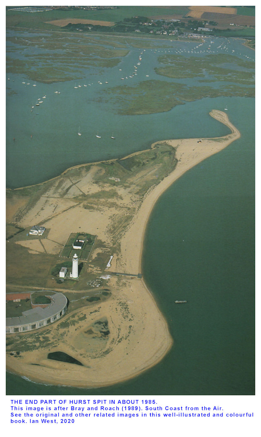 An oblique aerial photograph of part of Hurst Spit, after Bray and Roach, 1989, South Coast from the Air
