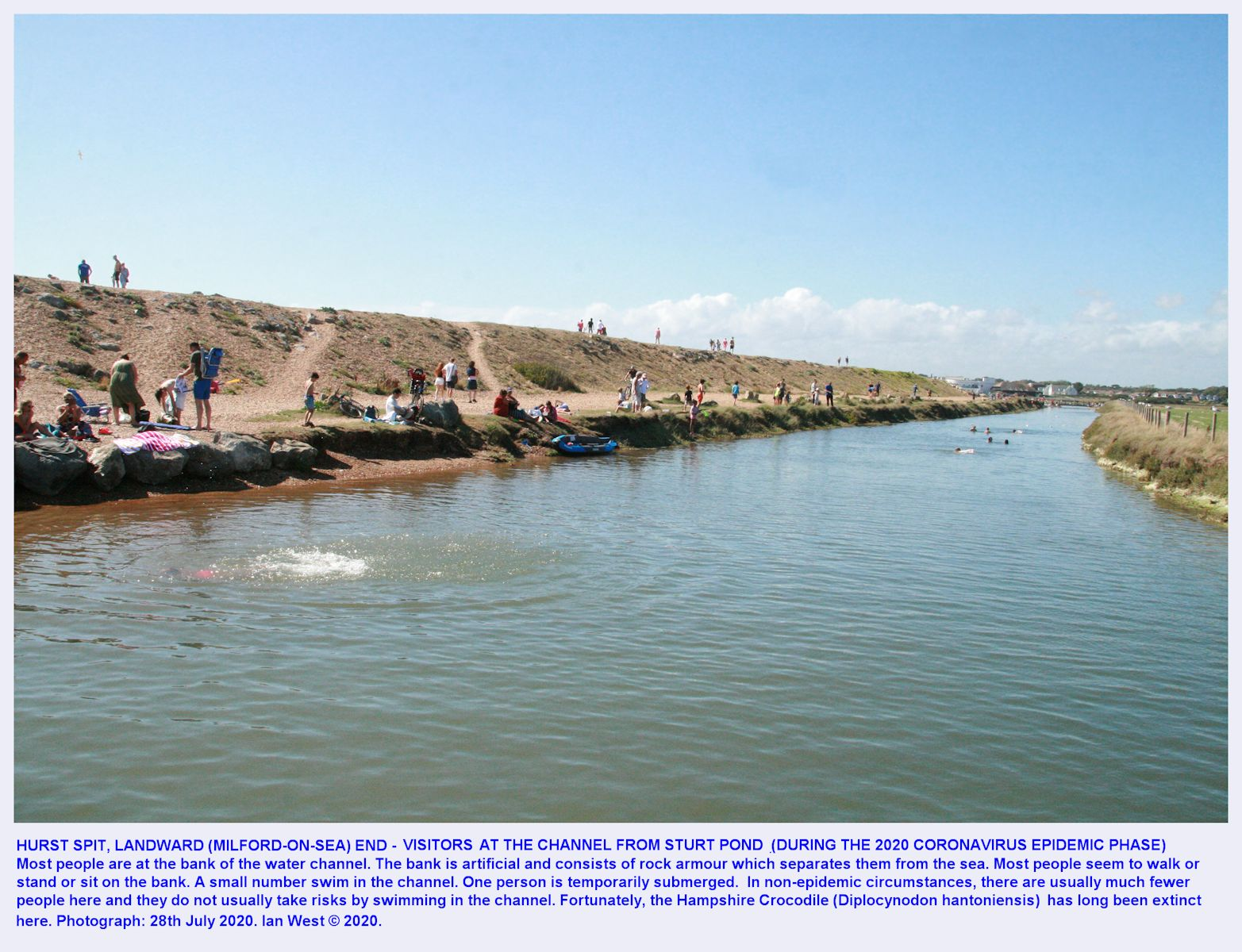 Human activity at the artificial channel from Sturt Pond to the eastern footbridge, Hurst Spit, Milford-on-Sea, during the Coronavirus Epidemic, high tide, August 2020