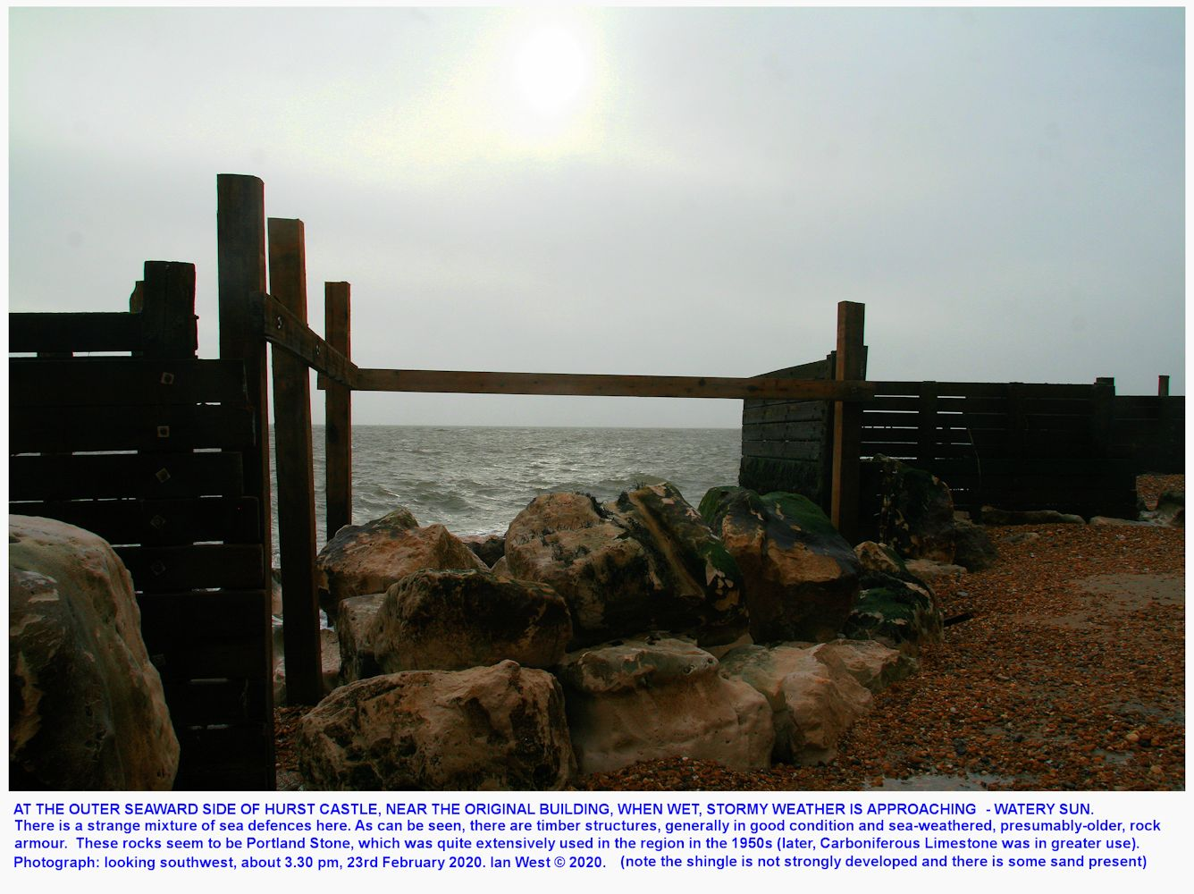 At the outer wall of the castle, looking at a watery sun, before the rain arrived, Hurst Castle, Hampshire, pm, 23rd February 2020