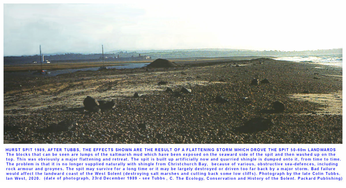 Hurst Spit was to some extent flattened by the storm of 1989, image modified after Tubbs (1999)