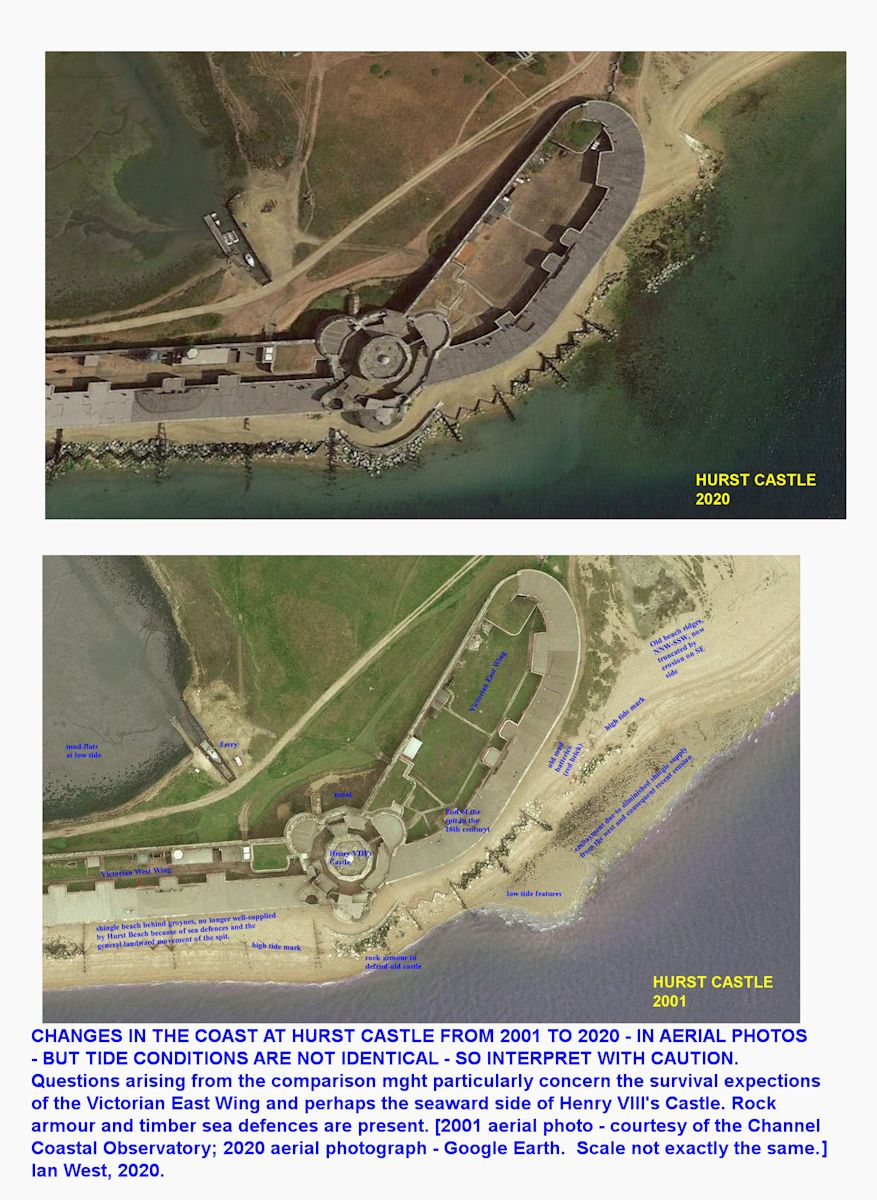Comparitive aerial photographs of Hurst Castle and adjaacent Victorian walls, for 2001, Channel Coastal Observatory, and 2020 Google Earth, showing some coastal retreat in the eastern part of the buildings, Ian West, 2020