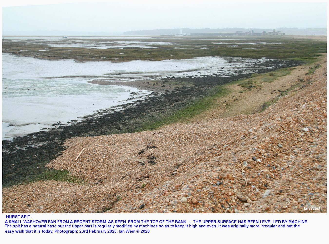 A small washover fan on Hurst Spit, resulting from a storm wave that has been high enough so as to wash shingle down towards the marshes at the back, photograph 23rd February 2020